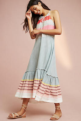 Slide View: 1: Yarn-Dyed Maxi Dress