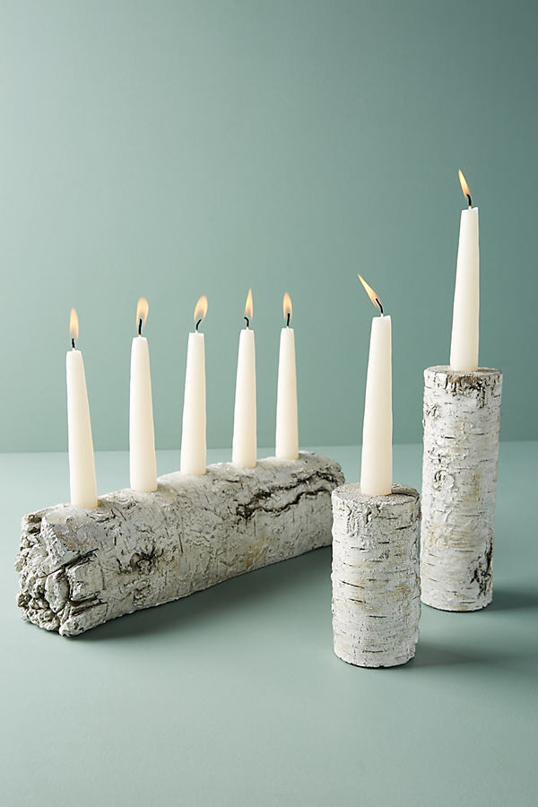 Shimmering Bark Candle Holder - White, Size S