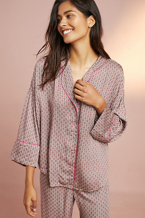 Floreat Printed Woven Pyjama Top - Neutral Motif, Size L