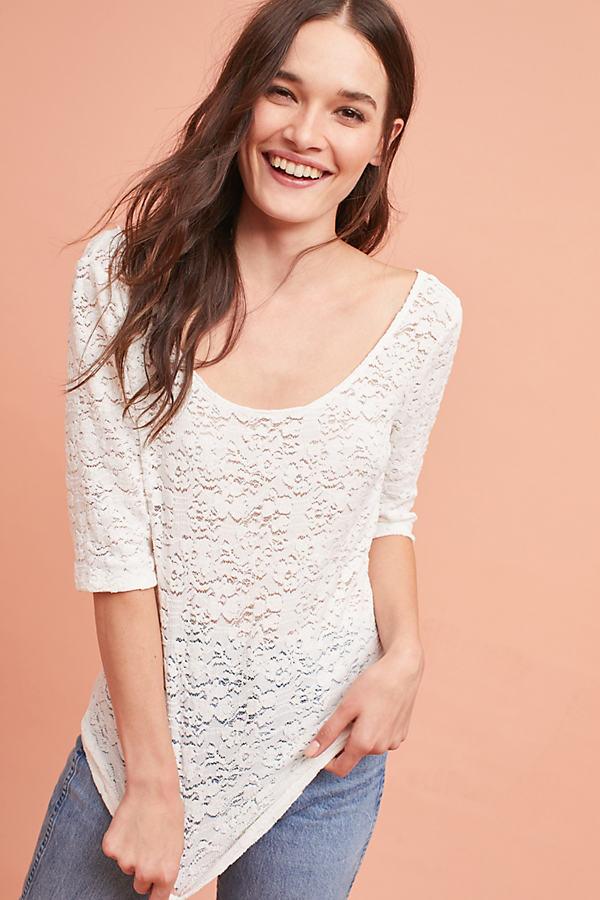 Liana Lace Layering Tee - Ivory, Size L