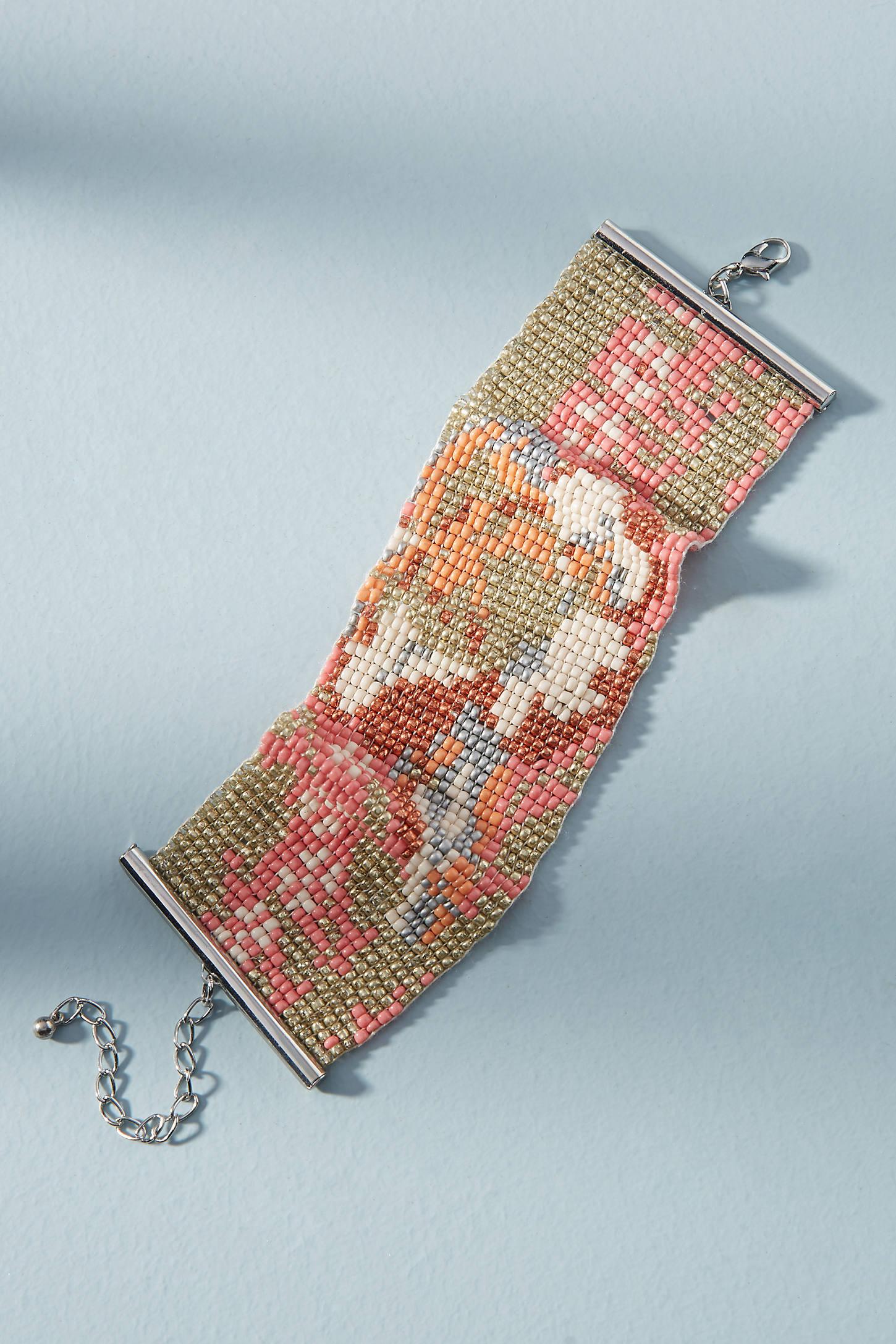Floral Beaded Cuff Bracelet