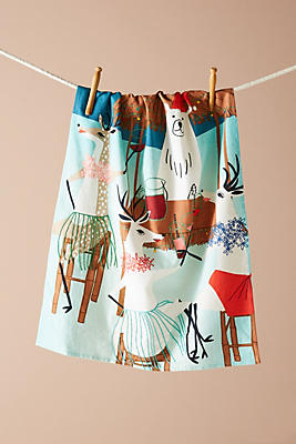 Slide View: 1: Woodland Office Party Dishtowel
