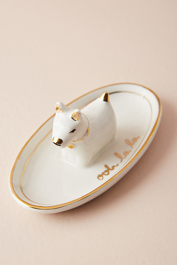 Dog Trinket Dish - White