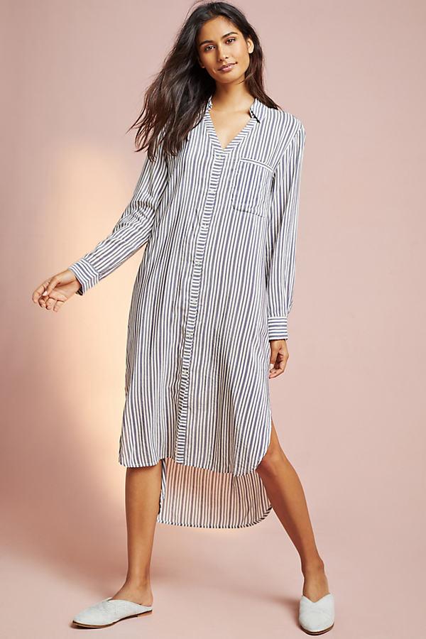 Floreat Striped Night Dress - Neutral Motif, Size Xl