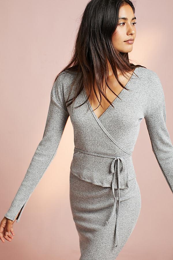 Nova Wrap Top, Grey - Grey, Size S