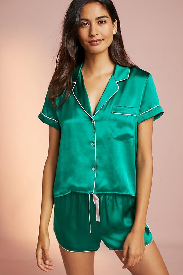 Embroidered Silk Pyjama Top - Green, Size M