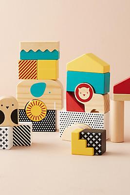 Slide View: 1: Animal Town Wooden Blocks Set