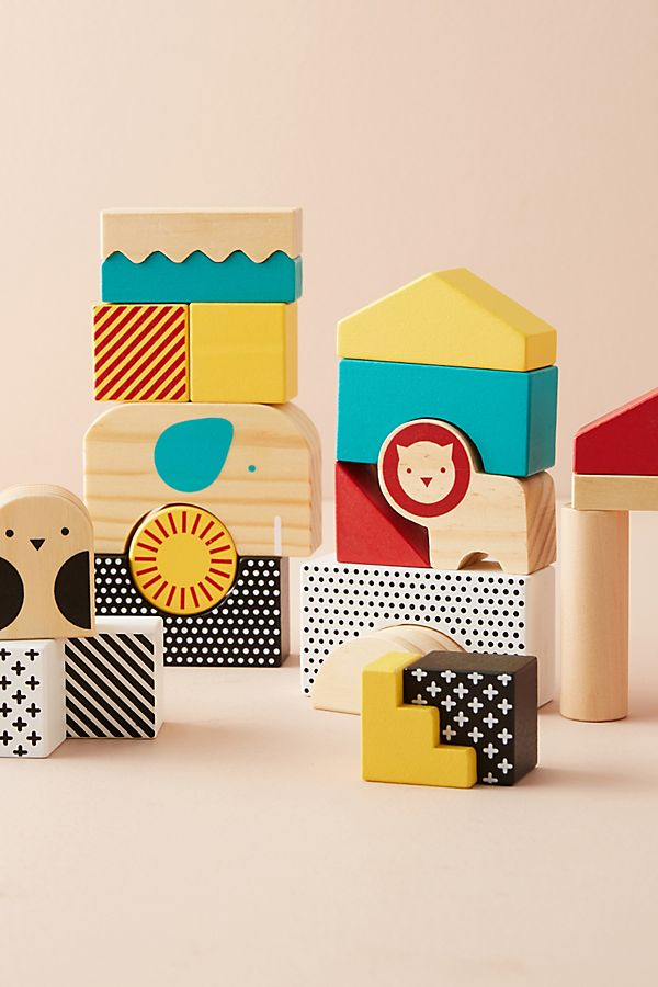 Slide View: 1: Animal Town Wooden Blocks Set
