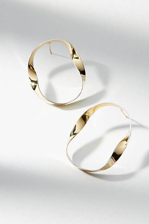 Cadence Ribbon Hoop Earrings - Gold