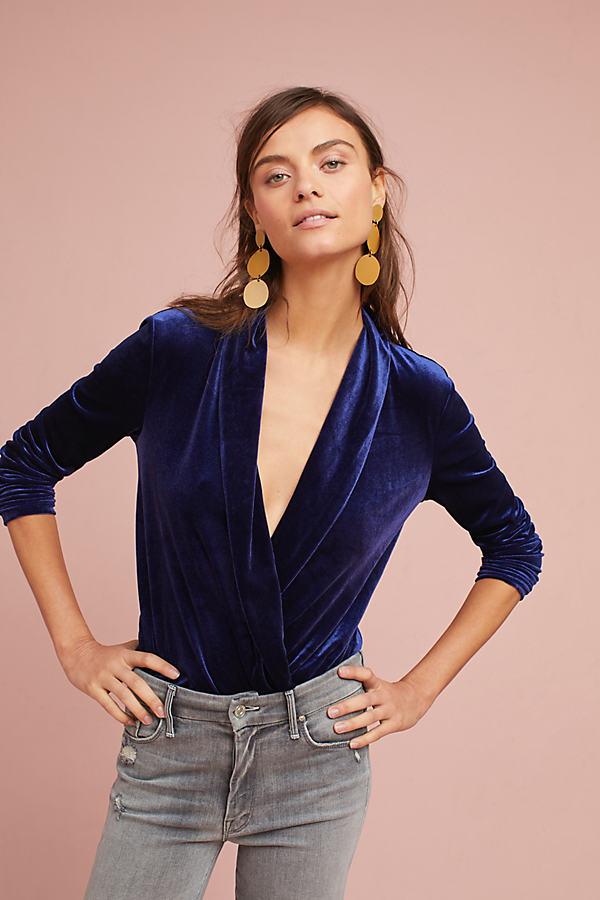 Floreat Velvet Surplice Bodysuit - Dark Blue, Size Xl
