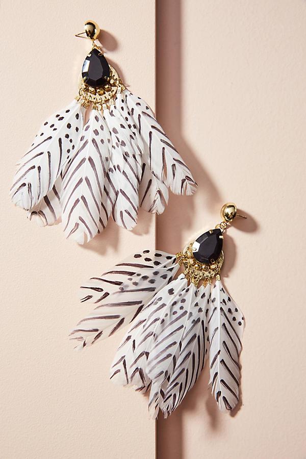 Mona Feather Drop Earrings