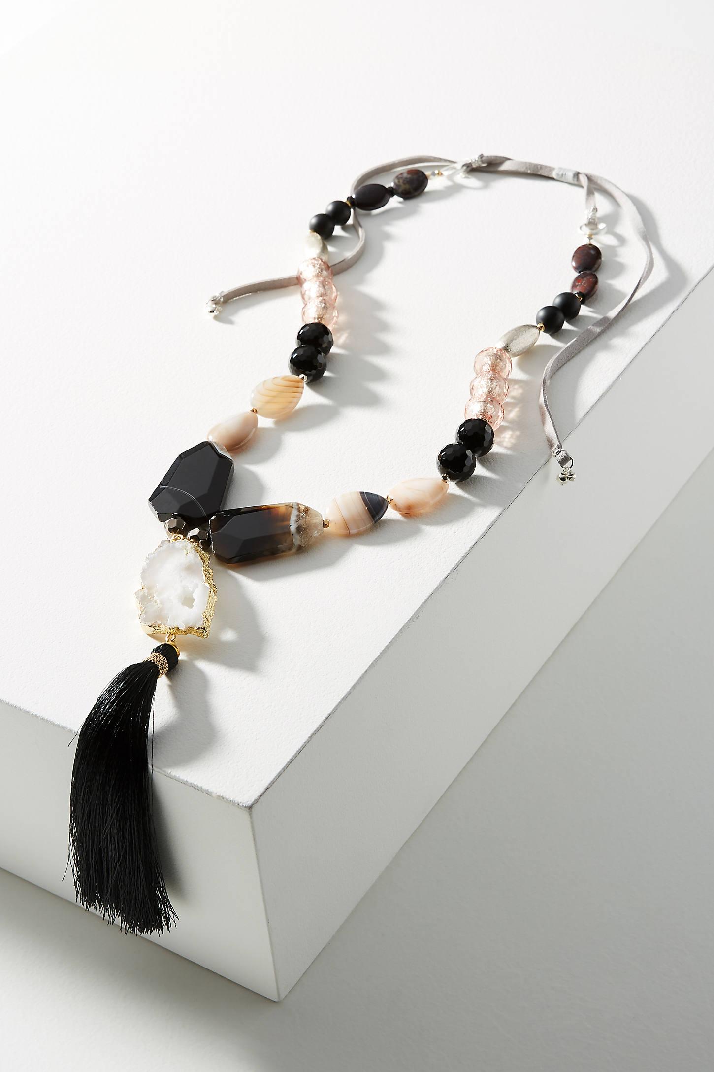 Agate Tassel Pendant Necklace