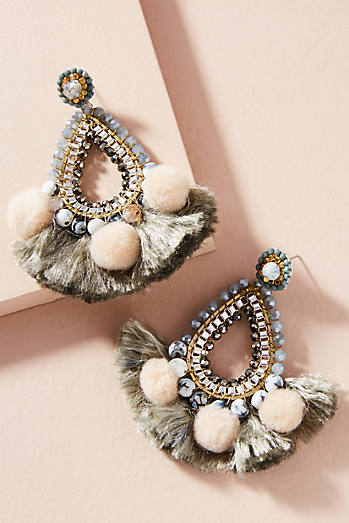 Pom & Fan Teardrop Earrings