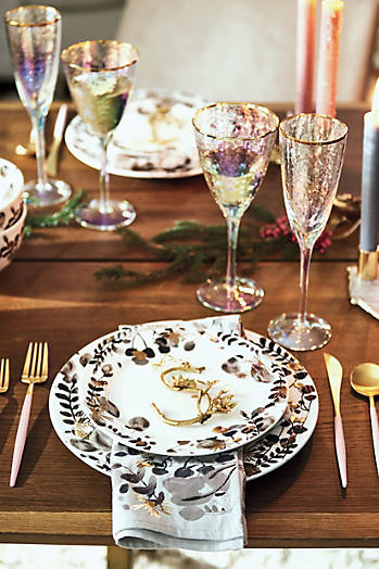 Slide View: 3: Gilded Botany Dinner Plate