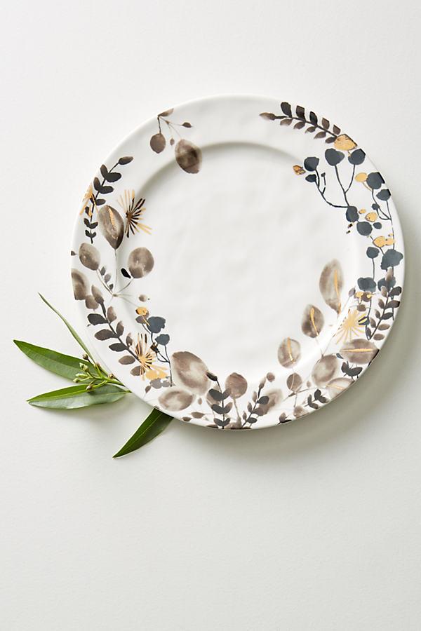 Gilded Botany Dinner Plate - Black & White, Size Dinner