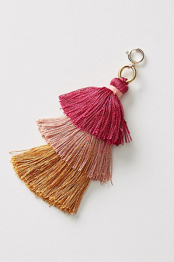 Tiered Tassel Charm - Pink