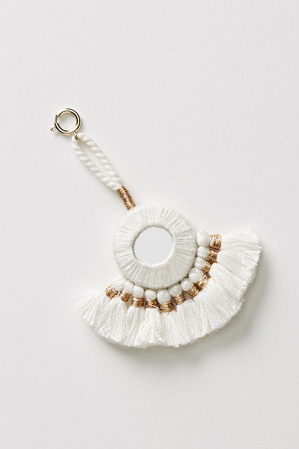 Fanned Tassels Decorative Charm - White