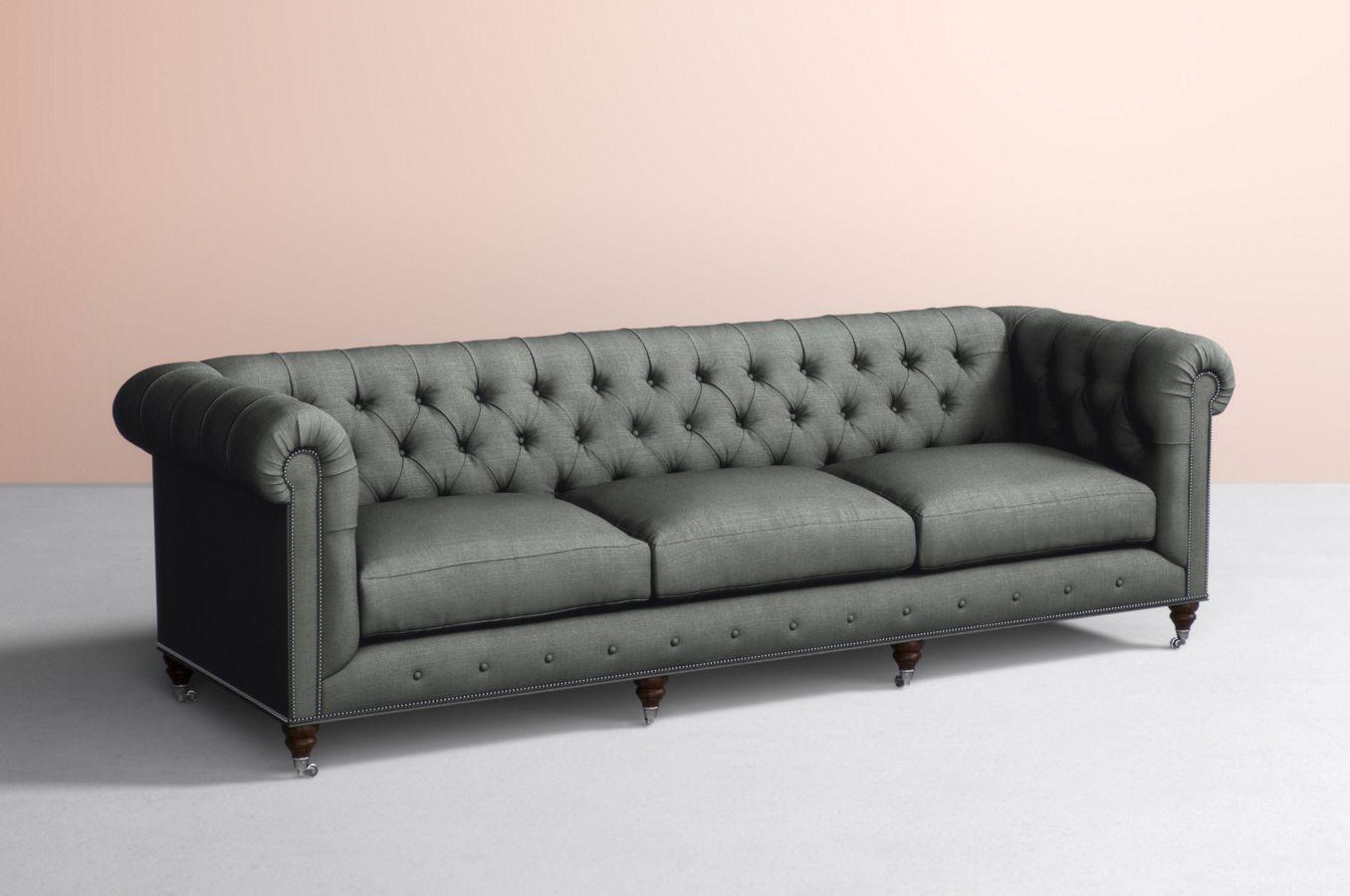 Lyre Chesterfield Three Cushion Sofa