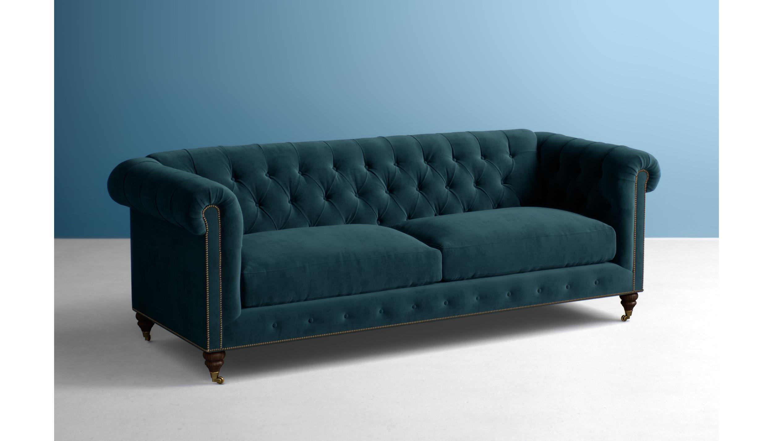 96 Navy Blue Chesterfield Sofa Navy Blue Velvet
