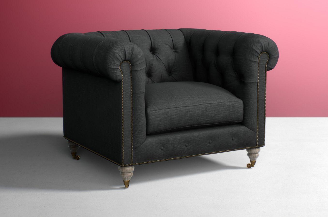 conrad armchair vintage chair leather pin chesterfield cigar