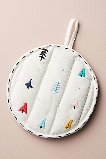 Embroidered Tree Pot Holder