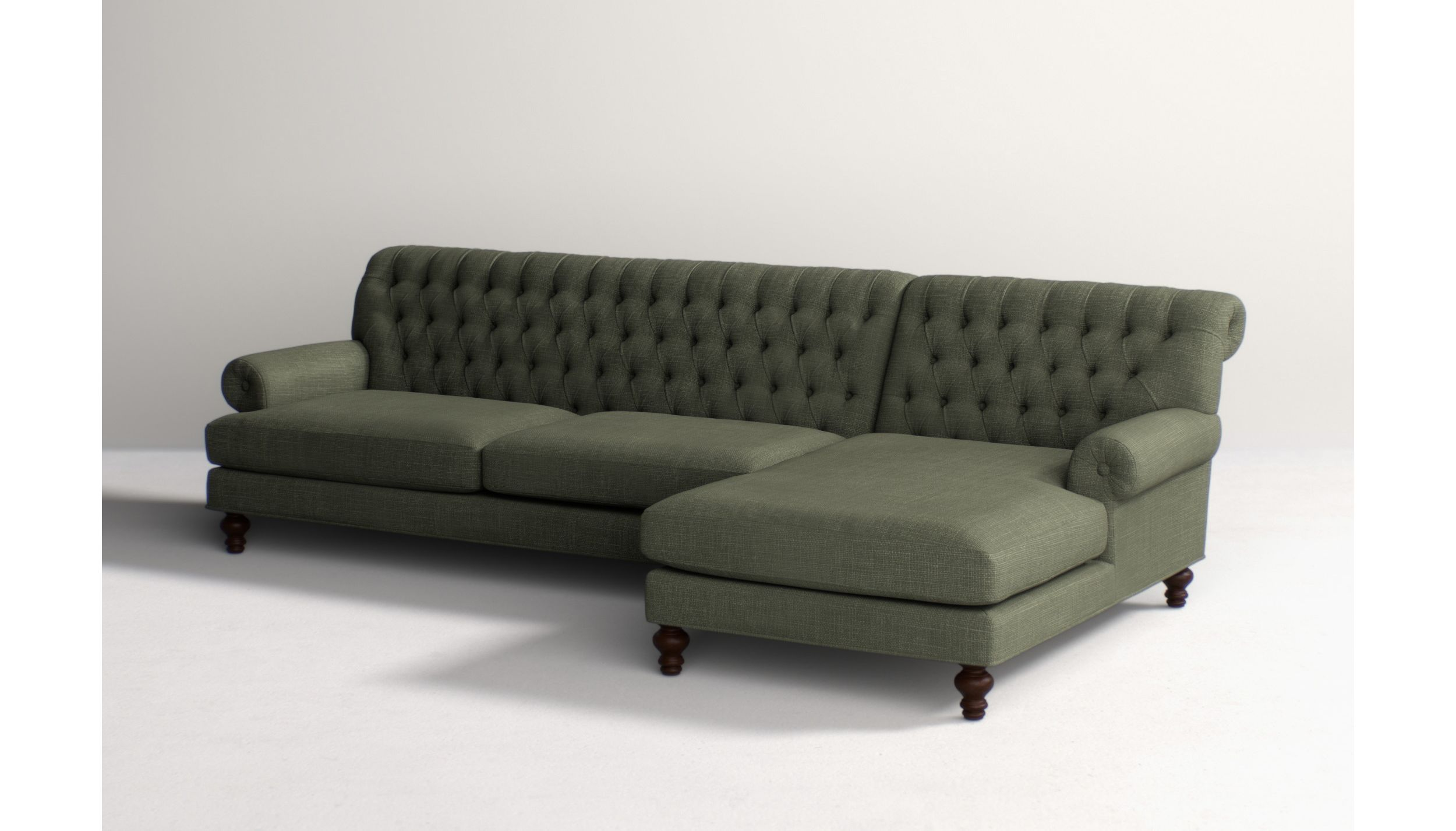 Fan Pleat Two-Piece Chaise Sectional