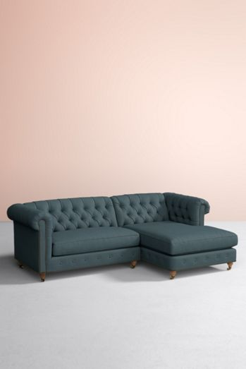 Custom Options Available Lyre Chesterfield Two Piece Chaise Sectional