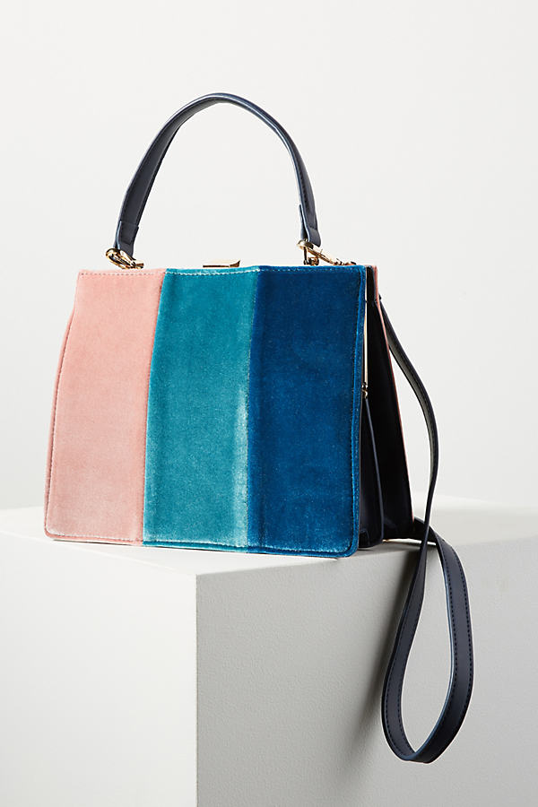 Colourblock Velvet Tote Bag - Pink