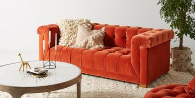 Anthropology tufted velvet Kettleby Sofa #designninja