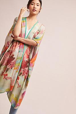 Slide View: 1: Blurred Floral Kimono