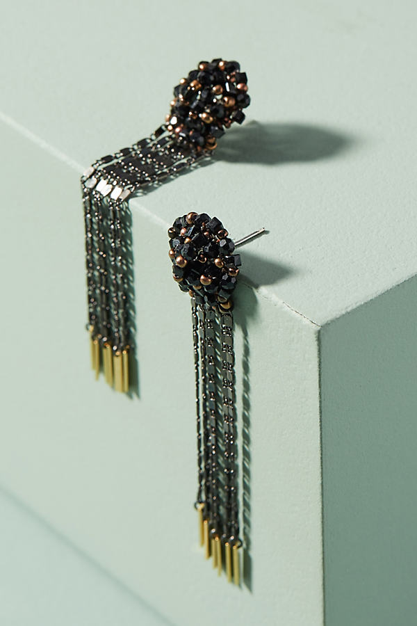 Sparkle Fringe Drop Earrings - Carbon