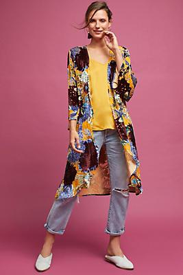 Slide View: 1: Aurelia Velvet Floral Kimono