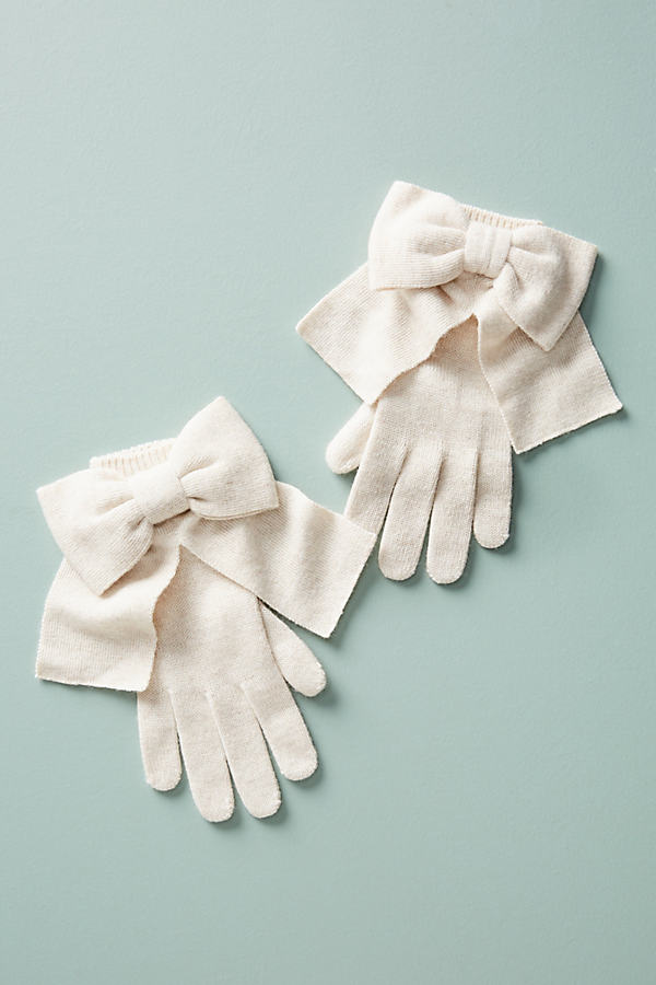 Long Bow-Tied Gloves - Cream