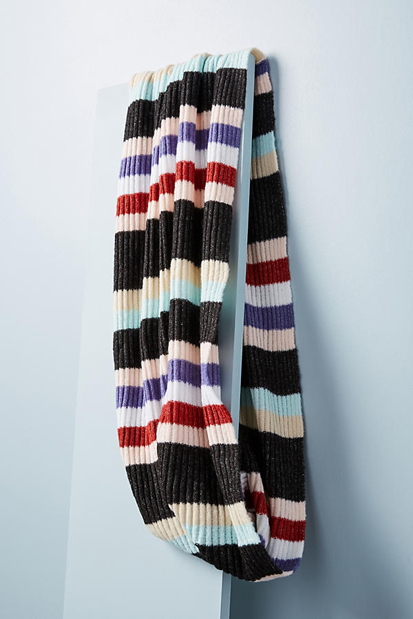 Slide View: 2: Cheery Striped Infinity Scarf