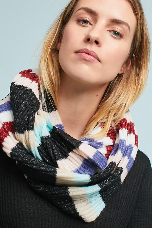 Slide View: 1: Cheery Striped Infinity Scarf