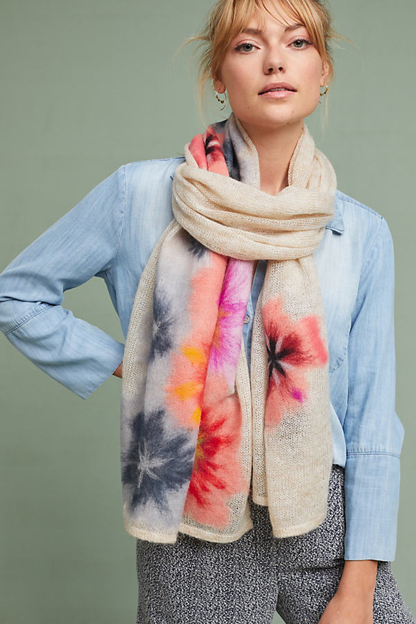 Felted Bouquet Scarf - Cream