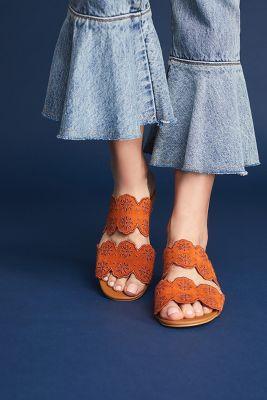 See By Chloe   See By Chloe Scalloped Slide Sandals  -    DARK ORANGE