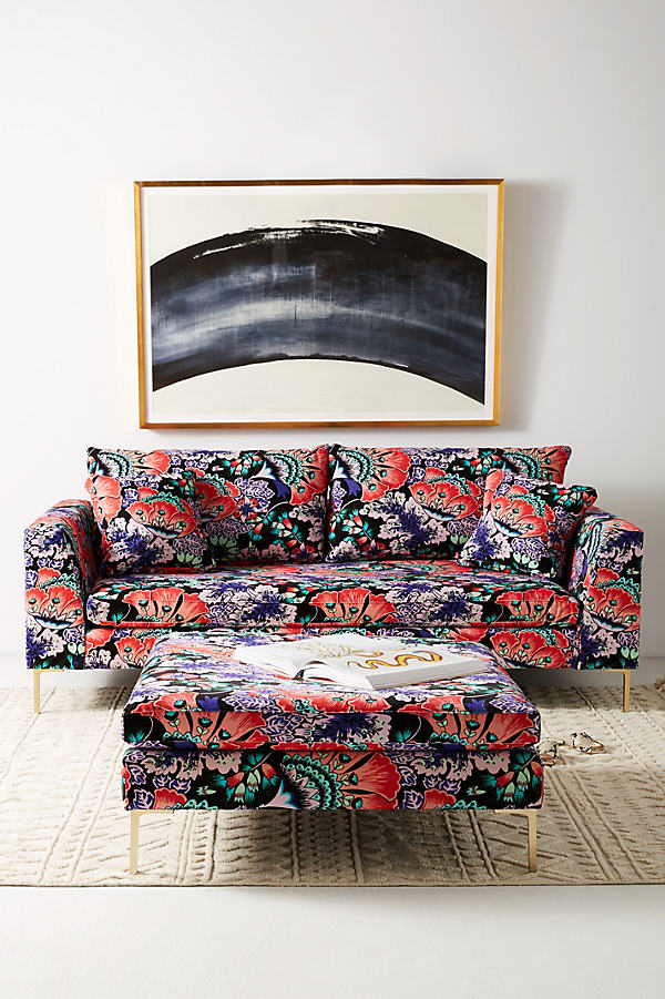 Liberty for Anthropologie Feather Bloom Edlyn Sofa - Black Motif