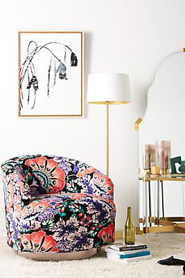 Slide View: 1: Liberty for Anthropologie Feather Bloom Amoret Swivel Chair