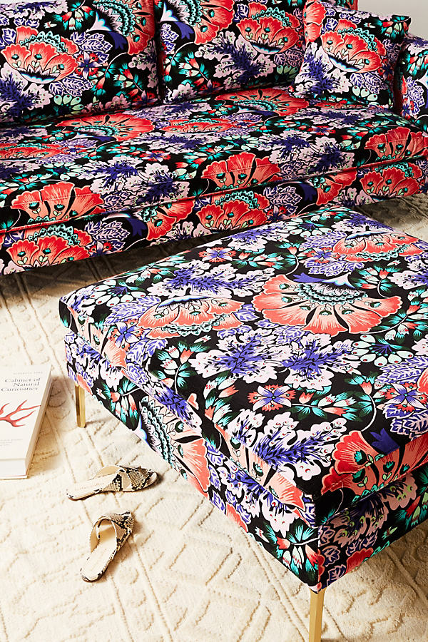 Liberty for Anthropologie Feather Bloom Edlyn Cocktail Ottoman - Black Motif