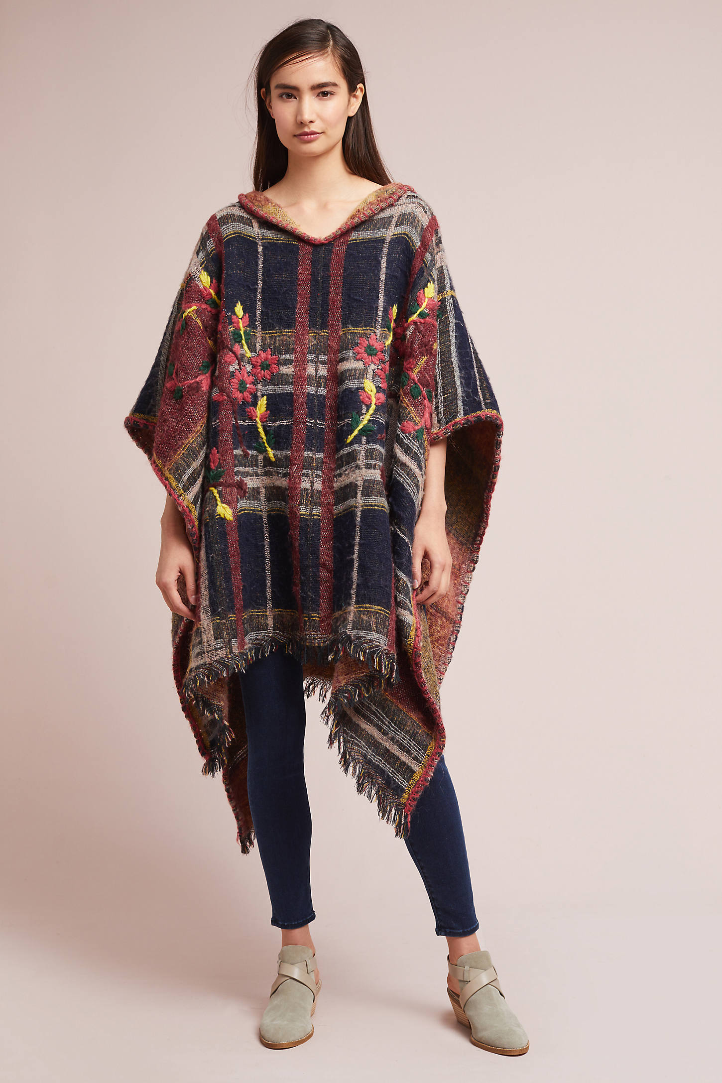Embroidered Plaid Poncho