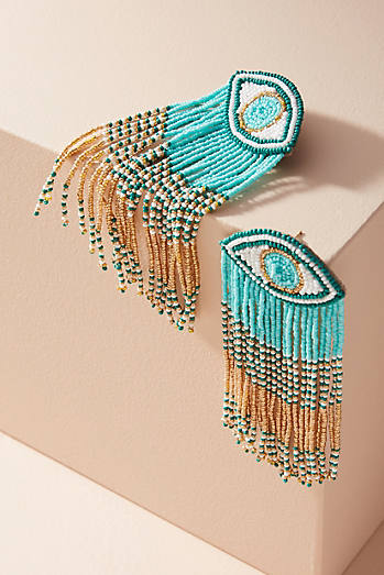 Eye Tassel Drop Earrings