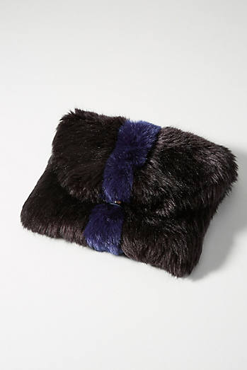 Shimmer Striped Faux Fur Clutch