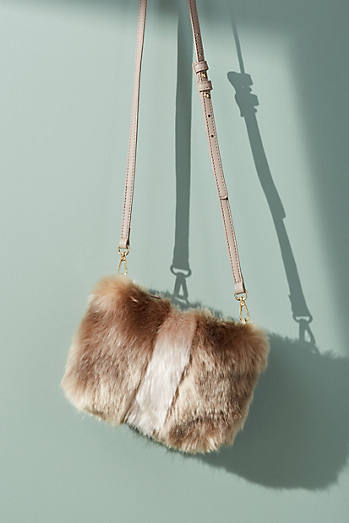 Striped Faux Fur Crossbody Bag
