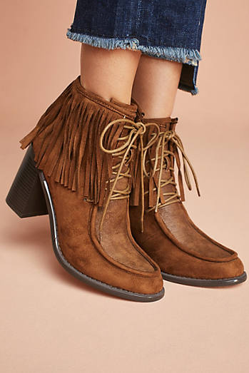Vanessa Wu Fringed Lace-Up Boots