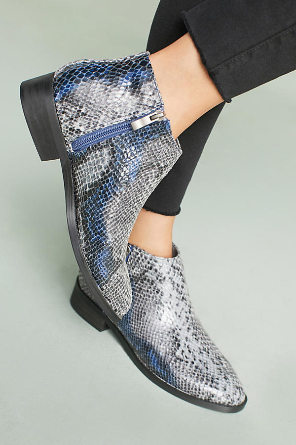 Vanessa Wu Snake-Printed Ankle Booties - Available at Anthropologie