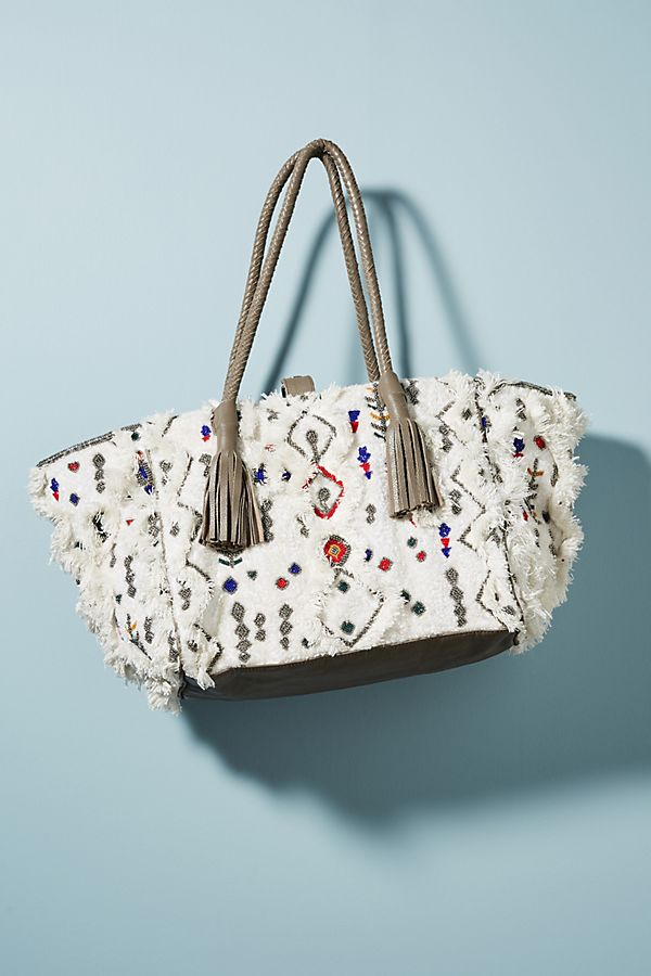 Embroidered Symbols Shearling Tote Bag
