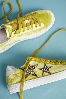 Lola Cruz   Lola Cruz Beaded Star Velvet Sneakers  -    LIME