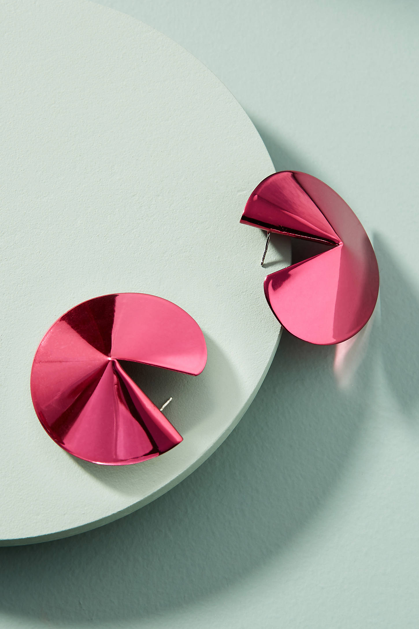 Pink Fortune Cookie Post Earrings
