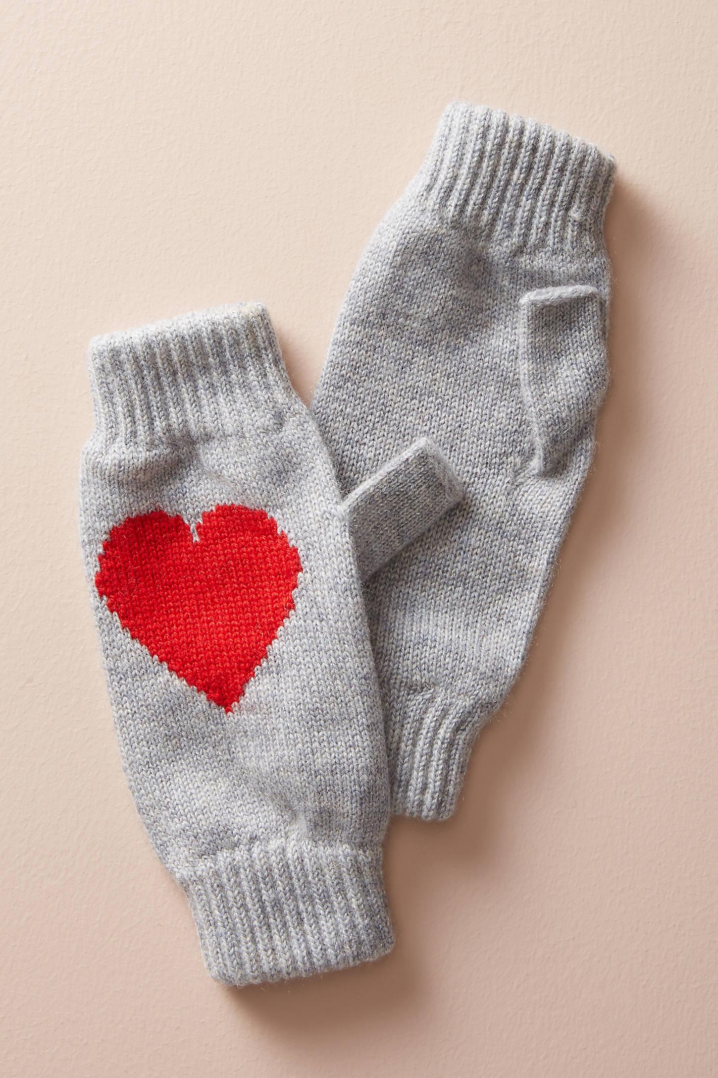 Heart Cashmere Fingerless Gloves